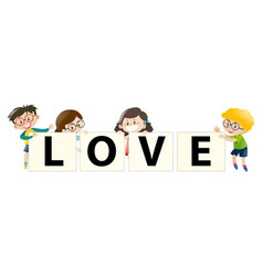 kids holding sign for love vector image