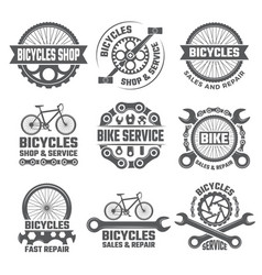 labels and sport logos set with parts of bicycle vector image