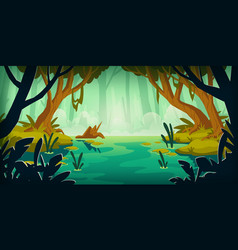 Landscape with swamp in rain forest vector