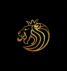 Lion logo lion head with crown vector