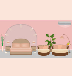 modern hotel room interior with houseplants sofa vector image