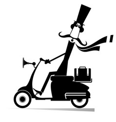 mustache man drives a scooter isolated vector image