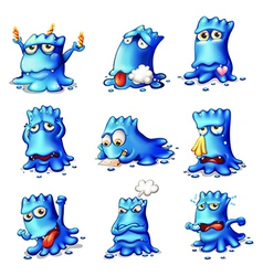 Nine blue monsters vector