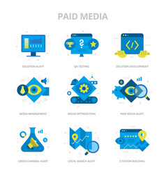 paid media flat icons vector image
