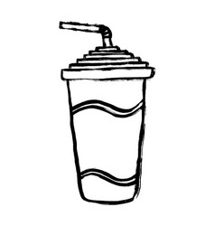 Paper cup soda line icon soda drink outline vector