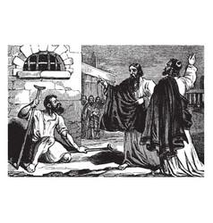 Paul heals a crippled man at lystra vintage vector