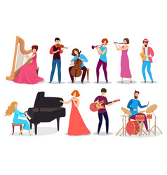 People playing musical instruments set of vector