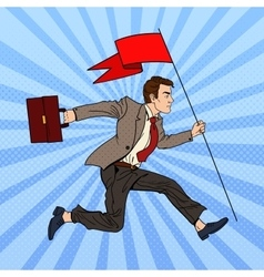 Pop Art Businessman Running with Flag to Success vector image