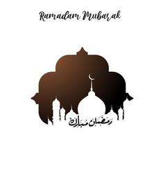 Ramadan mubarak urdu lettering on mosque tempalte vector