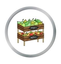 Raw food lying on rack shelves icon in cartoon vector image