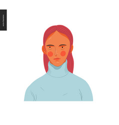 Real people portraits - red-haired woman vector