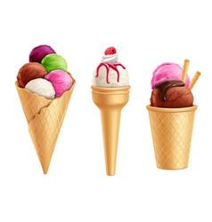 Realistic ice cream set vector