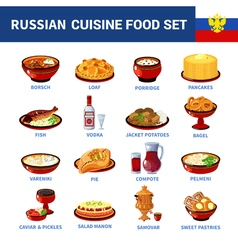 Russian Cuisine Dishes Flat icons Collection vector