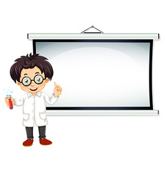 Scientist and screen vector image