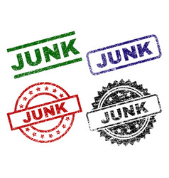 Scratched textured junk seal stamps vector