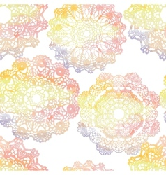 Seamless pattern Elegant lacy watercolor doilies vector