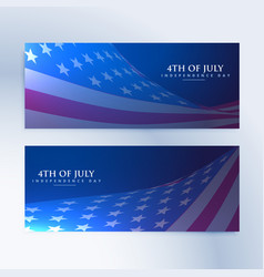 set banners with american flag vector image