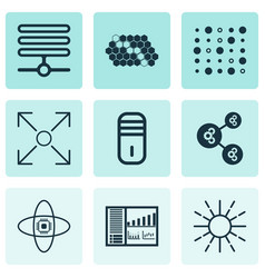 Set of 9 machine learning icons includes hive vector
