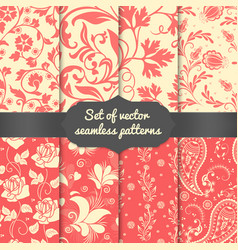 set of flower seamless pattern vector image