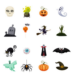 set of halloween feast collection of attributes vector image