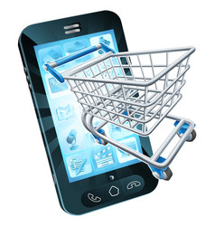 shopping cart mobile phone vector image