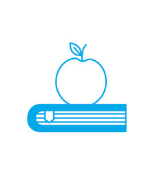 Silhouette apple fruit over close book vector