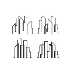 skyscraper line icon design template isolated vector image