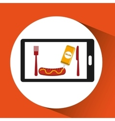 Smartphone order sausage food online vector
