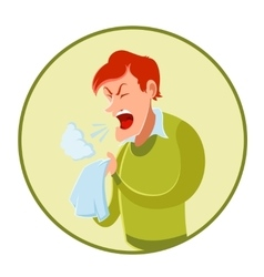 Sneezing man and a handkerchief vector image