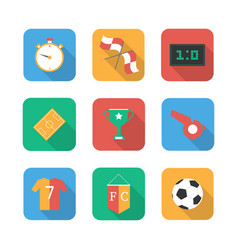 soccer set icons with field vector image
