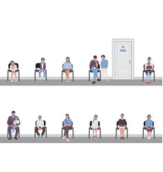 Social distancing parents with children sitting vector
