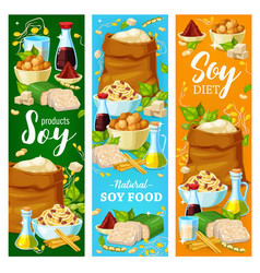 Soy food vegan protein nutrition banners vector