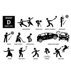 Sport games alphabet d icons pictograph dancesport vector