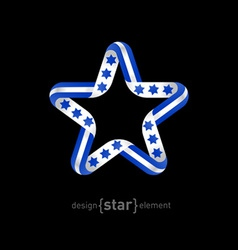 Star with Israel flag elements vector image