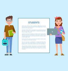 students posters with man and woman frame text vector image