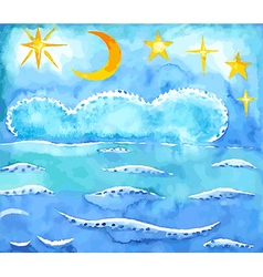 Summer night sky and sea background vector