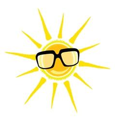 Sun yellow and black glasses vector