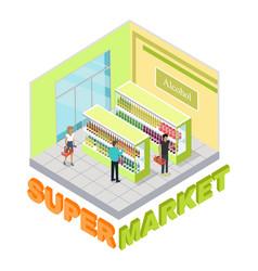 Supermarket alcohol department people inside vector