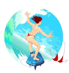 SurferGirl sliding on the ocean waves vector image