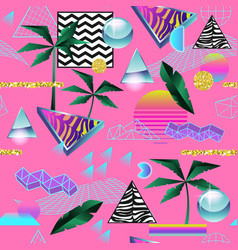 Synth wave tropical seamless pattern futuristic vector