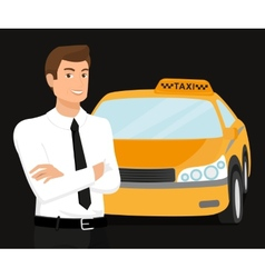 Taxi driver and yellow car behind him vector image