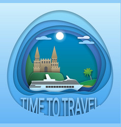 Time to travel emblem design cruise ship at sea vector