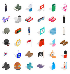 Vogue icons set isometric style vector