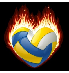Volleyball on fire in the shape of heart vector