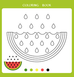 watermelon for coloring book vector image