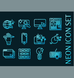 web design set icons blue glowing neon style vector image