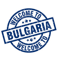 welcome to bulgaria blue stamp vector image