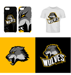 wolf head sport club isolated logo concept vector image