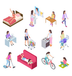 Woman daily routine housewife ironing and vector