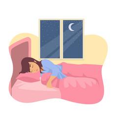 Woman sleeping in her bed vector